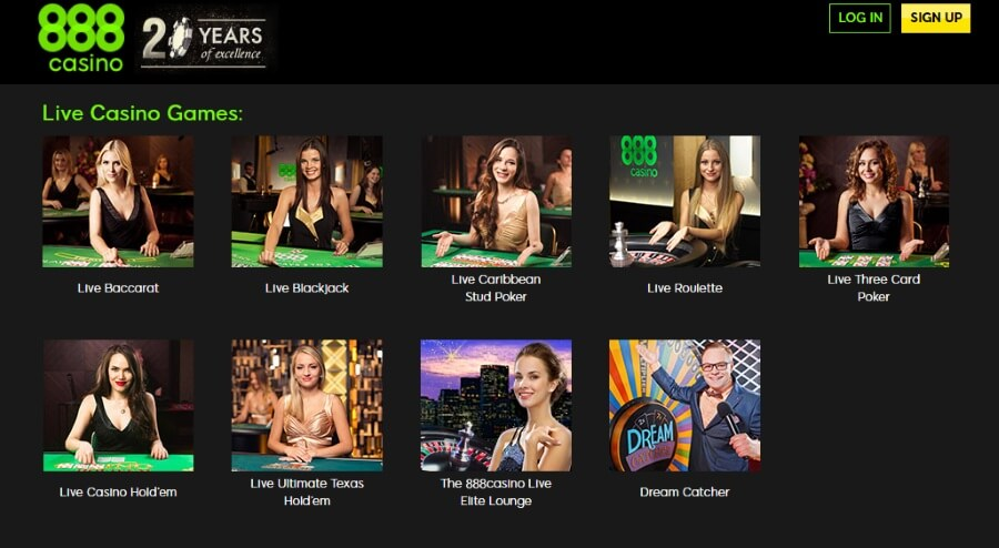 888casino Live Dealer Games