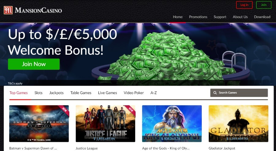 Grab the Mansion Casino Welcome Bonus Offer