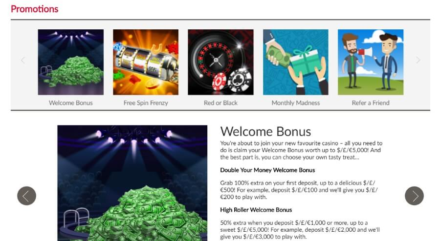Bonuses and promotions for Everybody from Mansion Casino