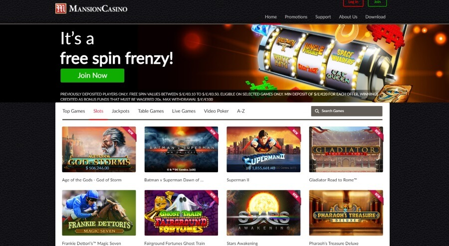 A Great Variety of Slots at Mansion Casino