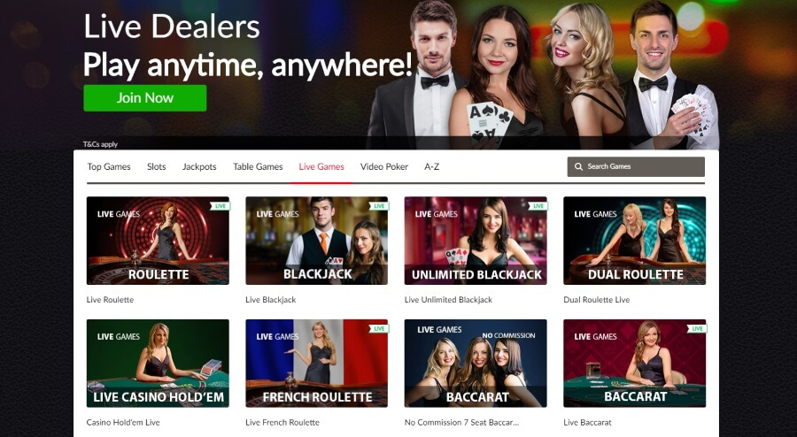 Play Mansion Casino Live Dealer Games
